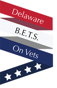 Picture of the Delaware BETS on Vets logo ribbon with stars